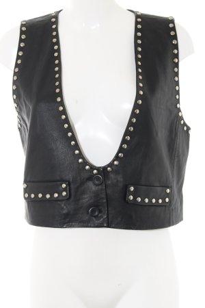 SET Urban Deluxe Gilet en cuir noir style mouillé