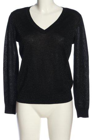 Set V-Ausschnitt-Pullover schwarz meliert Casual-Look