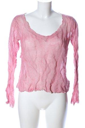 Set V-Ausschnitt-Pullover pink meliert Casual-Look