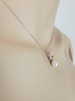 Set von Swarovski - Halskette und Ohrstecker mit Perlen