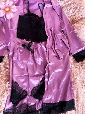 Set Zweiteiler Dreiteiler Sets spitze S setpreis Unterwäsche sexy satin schwarze Spitze Shorts Pants Top Black Cardigan