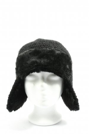 SEVENTY THREE Aviator Hat black cable stitch casual look