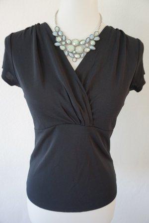 Ann Taylor Short Sleeved Blouse black rayon