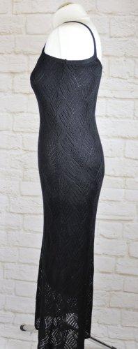 Vestido largo negro tejido mezclado