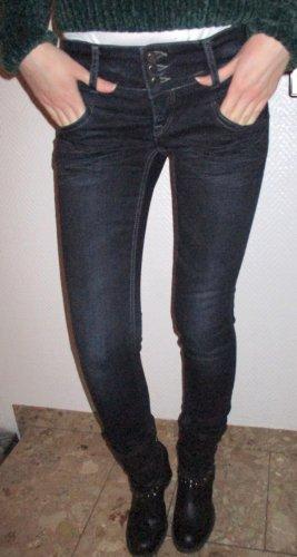 sexy AMISU Jeans Röhre Hose Jeanshose Hose breiter Bund darkblue tiefes dunkelbau 5 Pocket Größe W 25 32 34 36 S