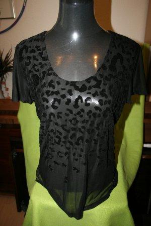 Sexy Ausbrenner Shirt, transparent in schwarze Gr. M - neu