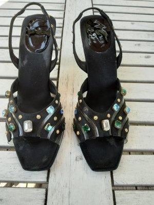 Sexy ausgefallene Designer Sandaletten mit bunten Steinchen ( 2 Steine fehlen, fällt aber nicht direkt auf)