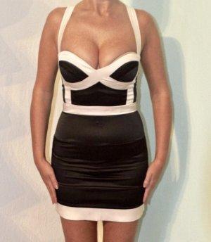 sexy Bandage Bodycon Kleid Gr. 34 XS schwarz weiß Satin asos