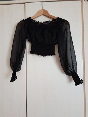 Carmen blouse zwart Synthetische vezel