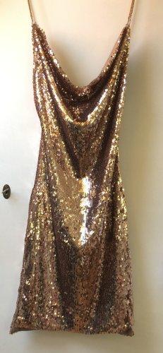 Sexy Cocktail/Party Kleid aus unglaublich vielen Pailletten Gold Roségold