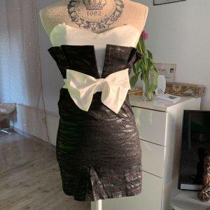 Sexy Cocktail-StretchKleid - Schwarz/Weiß - Schleife - Größe S 34/36
