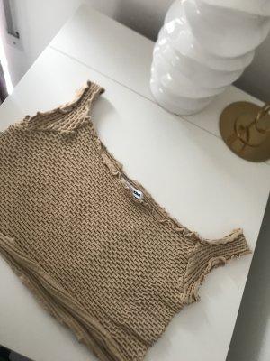 Sexy crop top in beige schulterfrei