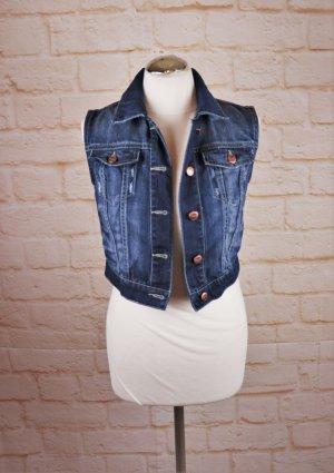 Sexy Cropped Jeansweste Only Größe 34 36 Blau Used Washed Jeans Biker Jacke Weste