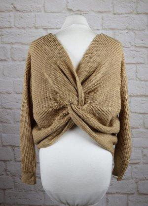 Sexy Cropped Pullover Strick Pulli Größe 38 40 M Beige Hellbraun Knoten Winterpullover