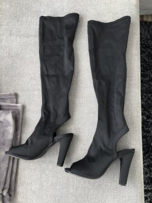 sexy elegante peeptoe overknees in schwarz