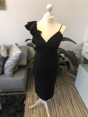 sexy elegantes abendkleid in schwarz mit volants