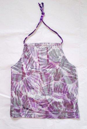 Sexy Glitzer-Neckholder-Top mit All-Over-Muster in lila mit funkelnden Plättchen von s.Oliver in Größe M