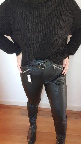 Guess Pantalon en cuir noir