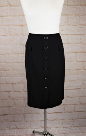 Sexy High Waist Pencil Skirt Rock NYCC Größe 14 L 44 Schwarz Knopfleiste Business Büro Retro Look Minirock