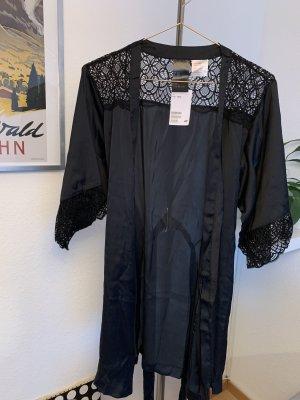 H&M Kimono nero Fibra sintetica