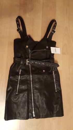 Sexy Kleid in Lederoptik Schwarz Größe 36