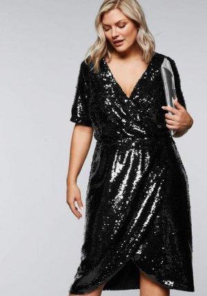 Sexy Kleid in Wickeloptik mit Pailletten GR 50 Neu Von Sheego