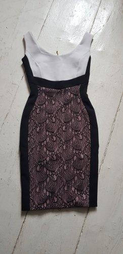 Sexy Kleid weiß/schwarz mit Spitze u Reißverschluss