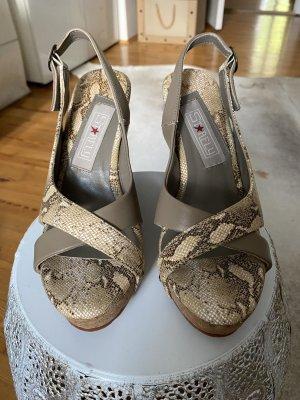 Sandalo con plateau marrone chiaro-grigio chiaro