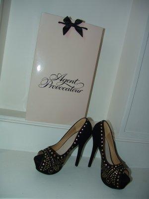 °°°Sexy Nieten- High Heels, Gr.39.schwarz-Gold,Prom-Dress aus London°°°