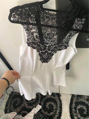 Zara Top di merletto nero-bianco