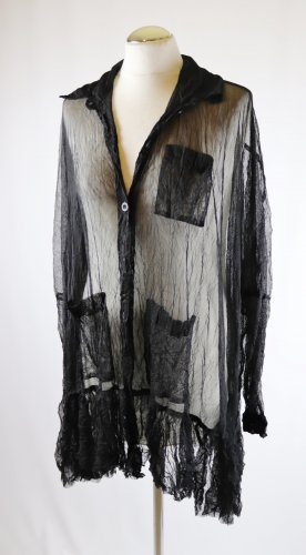 Sexy Oversize Transparent Bluse Longbluse Rüschen Hemd Größe XL 42 Schwarz Netz Tüll Schleiertüll Crash Lagenlook Dessous