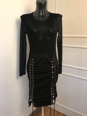 Vestido elástico negro-color bronce
