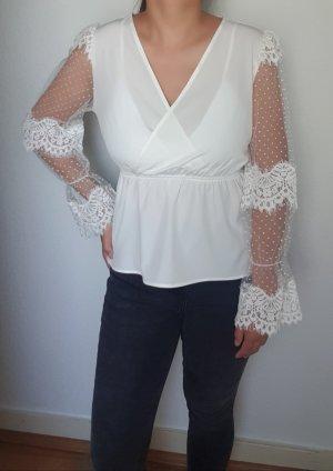 Sexy Peplum Bluse mit transparente Ärmel