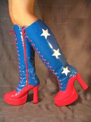 Sexy Plateaustiefel, Miss America, blau/rot mit weißen Sternen, Gr. 40