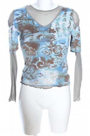 Print-Shirt abstraktes Muster Casual-Look