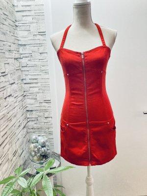 Amisu Robe dos-nu rouge jean