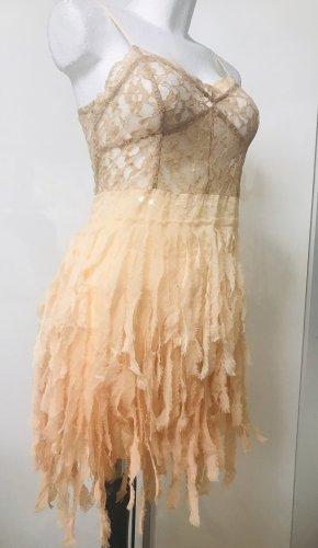 Sexy Runway Fransen Kleid mit Perlen Damen L