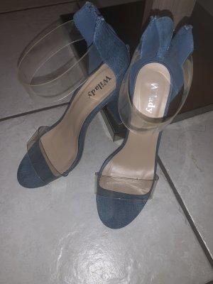 Sandalo con tacco alto e lacci a T blu fiordaliso