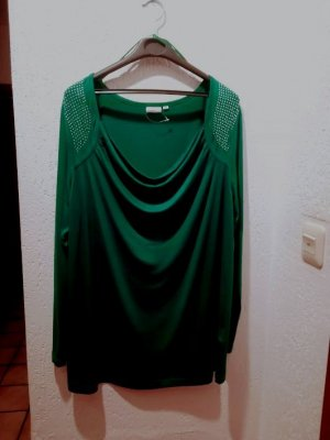Sexy smaragdfarbenes Shirt von LauraT mit Straßbesatz an den Schultern, Gr. 46