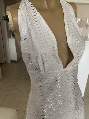 Fashion New York Sukienka z dekoltem typu halter biały-srebrny