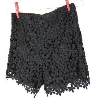 Sexy Spitzenhöschen High Waist Shorts Hollister Größe Xs 34 36 Schwarz Hot Pants Mini Hose Festival