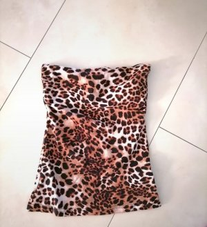 H&M Top z dekoltem typu bandeau brązowy-kremowy