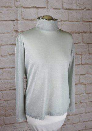 Sexy Transparent Shirt Riani Größe M 38 Rollkragen Langarm Top Bluse Lurex Seide Stretch Pastell Mint Ice Stehkragen Oberteil
