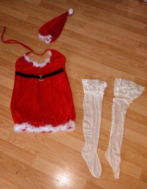 Conjunto de lencería blanco-rojo