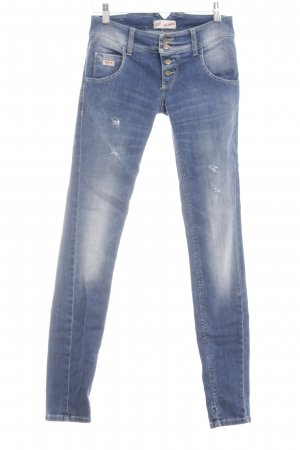 Sexy Woman Skinny Jeans blau-weiß Casual-Look