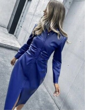 Zara Leather Dress blue