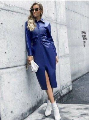 Sexy ZARA Royalblau Blogger Lederkleid Leder Kleid S Neu