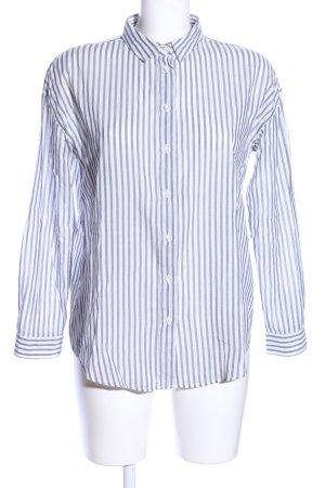 Sezane Langarm-Bluse weiß-blau Streifenmuster Casual-Look