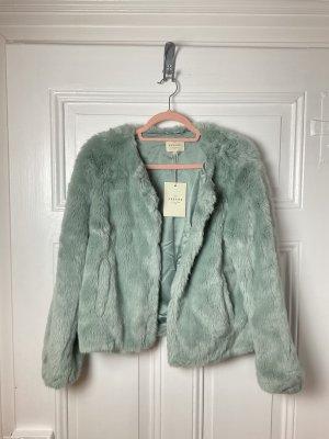 Sezane Paris Lio Coat Celadon Grün Jacke Faux Fur Fell NP 185€