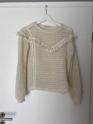 Sezane Jersey de lana crema-blanco puro